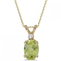 Oval Peridot and Diamond Solitaire Pendant 14K Yellow Gold (0.93ct)