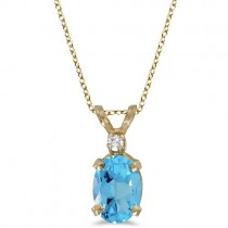 Oval Blue Topaz & Diamond Solitaire Pendant 14K Yellow Gold (1.00ct)