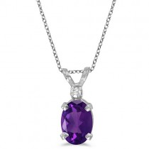 Oval Amethyst & Diamond Solitaire Pendant 14K White Gold (0.82ct)