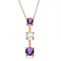 Amethysts & Diamond Three-Stone Necklace 14k Rose Gold (0.25ct)