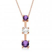 Amethysts & Diamond Three-Stone Necklace 14k Rose Gold (0.50ct)