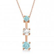 Aquamarines & Diamond Three-Stone Necklace 14k Rose Gold (0.50ct)