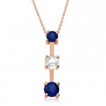 Blue Sapphires & Diamond Three-Stone Necklace 14k Rose Gold (1.00ct)