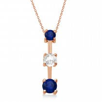 Blue Sapphires & Diamond Three-Stone Necklace 14k Rose Gold (0.25ct)