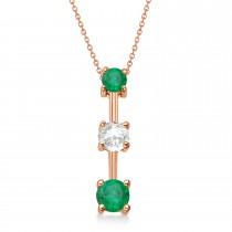 Emeralds & Diamond Three-Stone Necklace 14k Rose Gold (0.50ct)