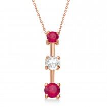 Rubies & Diamond Three-Stone Necklace 14k Rose Gold (0.25ct)