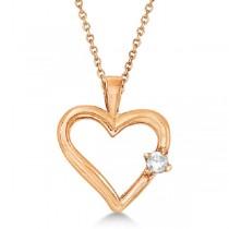 Diamond Open Heart Shaped Pendant Necklace 14k Rose Gold (0.05ct)