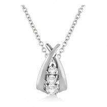 X Swoop Three-Stone Diamond Pendant Necklace 14k White Gold (0.25ct)
