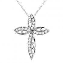 Diamond Cross Pendant Necklace in 14k White Gold (0.32ct)
