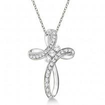 Diamond Swirl Cross Pendant Necklace 14k White Gold (0.61ct)