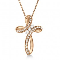 Diamond Swirl Cross Pendant Necklace 14k Rose Gold (0.25ct)