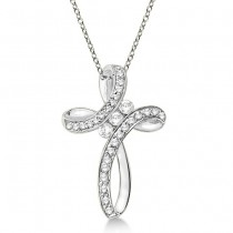 Diamond Swirl Cross Pendant Necklace 14k White Gold (0.25ct)