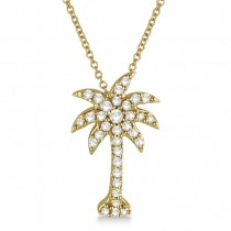 Palm Tree Shaped Diamond Pendant Necklace 14k Yellow Gold (1/4ct)