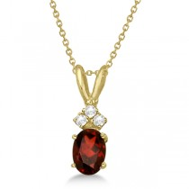 Oval Garnet Pendant with Diamonds 14K Yellow Gold (1.01ctw)