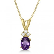 Oval Amethyst Pendant with Diamonds in 14K Yellow Gold (0.86ctw)