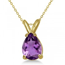 Pear-Cut Amethyst Solitaire Pendant Necklace 14K Yellow Gold (1.00ct)