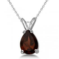 Pear-Cut Garnet Solitaire Pendant Necklace 14K White Gold (1.00ct)