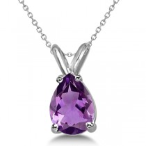 Pear-Cut Amethyst Solitaire Pendant Necklace 14K White Gold (1.00ct)