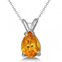 Pear-Cut Citrine Solitaire Pendant Necklace 14K White Gold (1.00ct)