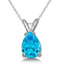 Pear-Cut Blue Topaz Solitaire Pendant Necklace 14K White Gold (1.00ct)