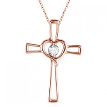 Diamond Heart on Cross Pendant Fancy Necklace in 14k Rose Gold