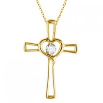 Diamond Heart on Cross Pendant Fancy Necklace in 14k Yellow Gold