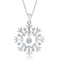 Snowflake Shaped Diamond Pendant Necklace 14k White Gold (0.20ct)
