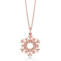 Snowflake Diamond Pendant Necklace 14k Rose Gold (0.10ct)