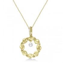 Swirl Design Circle Diamond Pendant Necklace 14k Yellow Gold (0.20ct)