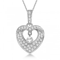Open Heart Swirl Diamond Pendant Necklace 14k White Gold (0.35ct)
