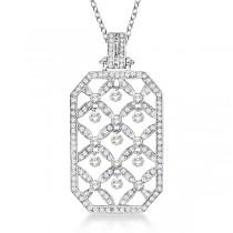 Octagon Shaped Diamond Pendant Necklace 14k White Gold (1.45ct)