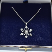 Snowflake Shaped Diamond Pendant Necklace 14k White Gold (0.77ct)|escape
