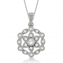 Snowflake Diamond Pendant Necklace 14k White Gold (0.25ct)