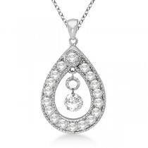Vintage Diamond Teardrop Pendant Necklace 14k white Gold (0.65ct)