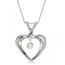 Dashing Diamonds Open Heart Diamond Pendant Necklace 14k White Gold