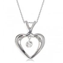 Dashing Diamonds Open Heart Diamond Pendant Necklace 14k White Gold