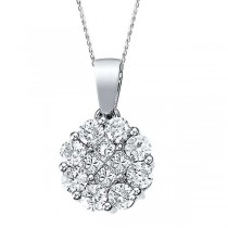 0.52ct Diamond Clusters Flower Pendant Necklace in 14k White Gold