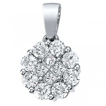 1.00 ct Diamond Clusters Flower Pendant Necklace in 14k White Gold|escape