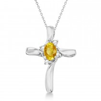 Yellow Sapphire and Diamond Cross Necklace Pendant 14k White Gold (0.50ct)