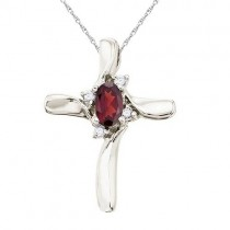 Garnet and Diamond Cross Necklace Pendant 14k White Gold