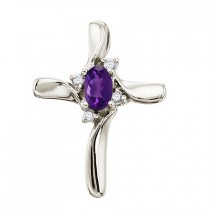 Amethyst and Diamond Cross Necklace Pendant 14k White Gold
