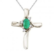 Emerald and Diamond Cross Necklace Pendant 14k White Gold