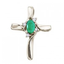 Emerald and Diamond Cross Necklace Pendant 14k White Gold (0.50ct)