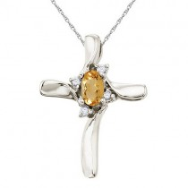 Oval Citrine and Diamond Cross Necklace Pendant 14k White Gold