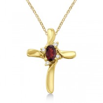 Garnet and Diamond Cross Pendant Necklace 14k Yellow Gold