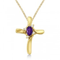 Amethyst and Diamond Cross Necklace Pendant 14k Yellow Gold