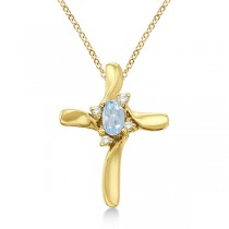 Aquamarine and Diamond Cross Necklace Pendant 14k Yellow Gold