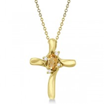 Oval Citrine and Diamond Cross Necklace Pendant in 14k Yellow Gold