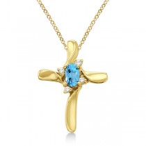 Blue Topaz and Diamond Cross Necklace Pendant 14k Yellow Gold