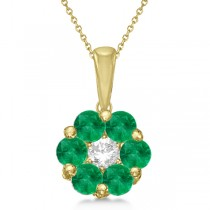 Flower Diamond & Emerald Pendant Necklace 14k Yellow Gold (0.92ct)